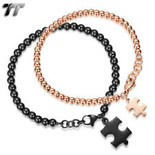 TT Stainless Steel 4mm & 5mm Bead Puzzle Bracelet For Couple Black Rose NEW