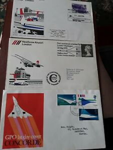 CONCORDE FIRST FLIGHT COVERS ×3