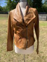 Vince Cross Over Asymmetrical Moto Brown Soft Leather Jacket Size Medium Coat