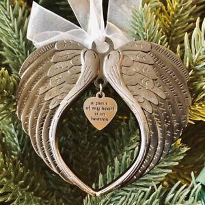 A Piece of My Heart Is In Heaven Angel Wings Ornament Pendant Xmas Tree Decor hf