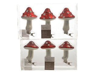 6 x Christmas Mushroom | Toadstool Glass Baubles Clip On Tree Decorations