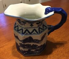 Vintage Chinese Blue And White Willow Chinoiserie Pitcher Fish Handle