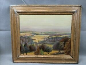 """California Impressionist Alden M. Heck Oil Painting Rolling Hills w Trees 12x9"""""""
