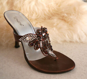 GORGEOUS UNZE BROWN JEWELLED SLIP ONS HIGH HEEL SHOES-BARGAIN PRICE