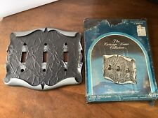 Vintage Amerock Carriage House 3 Gang Triple Switch Plate Wall Light NOS CoverD2