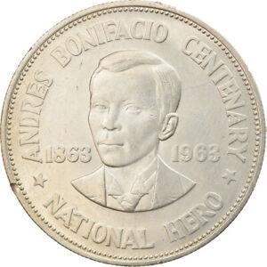 [#916787] Coin, Philippines, Andres Bonifacio, Peso, 1963, MS, Silver, KM:193