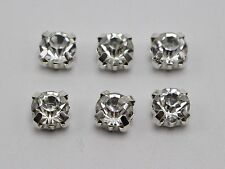 50 Silver Clear Crystal Glass Rhinestones Rose Montees 8mm Sew on Beads