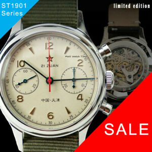 Seagull 1963 ST1901 Venus 38mm Chronograph Sapphire, Display Back, 2 Straps BNIB