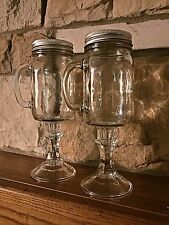 Set of 2 Mason Jar Toasting Glass w/ Handle Redneck Hillbilly Wine Glasses