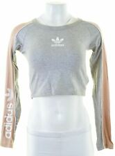 ADIDAS Womens Crop Top Long Sleeve UK 8 Small Grey Cotton  KK16