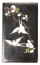 Antique Japanese Shibayama Suzuribako Ink Stone Box Calligraphy China Chinese