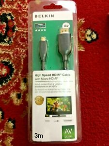 Belkin(3m)High Speed Gold Plated HDMI Cable with Micro HDMI AVDigital F3Y030BF3M