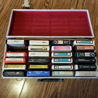 Vintage 8-Track Faux Leather Red Velvet Case with 23 Tapes AS IS - UNTESTED