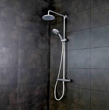 Crosswater Round Thermostatic Shower Bar Valve Rigid Riser 200 Over Head Hand