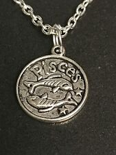 "Zodiac Pisces Sign Charm Tibetan Silver with 18"" Necklace Z3 BIN"