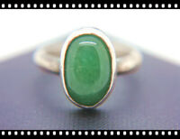 ❤️ Antique Vintage Deco Sterling Silver GREEN Cabochon Jade Ring Size 6 OLD