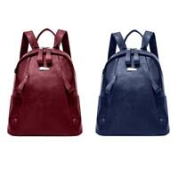Women Backpack PU Leather Solid Zipper Shoulder School Rucksack Lady Travel Bags