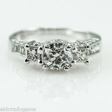 ENGAGEMENT ANNIVERSARY RING 2.50 CT. ROUND, PRINCESS DIAMOND 14K WHITE GOLD 6.5