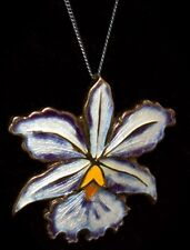 Vintage STERLING Silver ~ENAMEL GUILLOCHE~ Hand Painted IRIS Necklace *DENMARK*