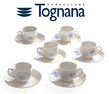 SET 6 TAZZINE 6 PIATTINI CAFFè TOGNANA IN PORCELLANA MARE