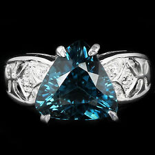 Sterling Silver 925 Genuine London Blue Topaz Trillion Cut Ring Size N1/2 US 7