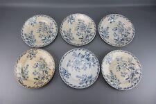 Ensemble de six assiettes plates en céramique décor floral Ø 22,5 cm sans marque