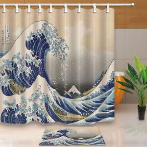 "Nautical Great Waves Hand Drawn Bathroom Fabric Shower Curtain & 12 Hooks 71*71"""