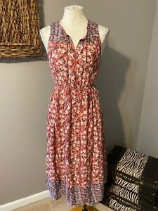 Lucky Brand Orange Blue Cream Floral Midi Dress XS NWT $129