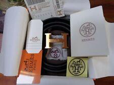 Hermes H Gold Buckle Belt Black size 38mm, 115 cm