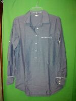 9883) J CREW small thin cotton pullover blouse 1/2 button blue long loose