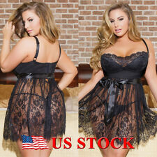 US Womens Sexy Sissy Nighwear Underwear Ladies Babydoll Dress Lingerie Plus Size