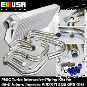 FMIC Turbo Intercooler+Piping+Silicones+Clamps for 08-11 Subaru Impreza WRX 2.5T