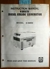 Kubota G-5500S Diesel Engine Generator Instruction Manual 87687-89112