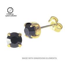 Pendientes bañado en oro con ELementos Swarovski Color: Negro
