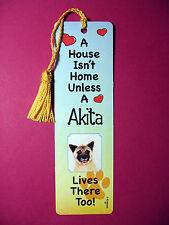 """Akita""- A House Isn't Home Tassel Bookmark (flag gold tassel) Sku# 37"