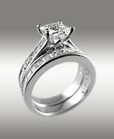 3.72Ct Princess Cut Engagement Ring w Matching Wedding Band 14K Solid White Gold