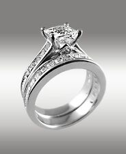 3.22Ct Princess Cut Engagement Ring w Matching Wedding Band 14K Solid White Gold