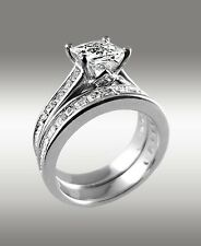 Wedding Band 14K Solid White Gold 3.22Ct Princess Cut Engagement Ring w Matching