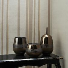 32-336 Kelly Hoppen Stripe Beige Gold Metallic Linen Effect Feature Wallpaper