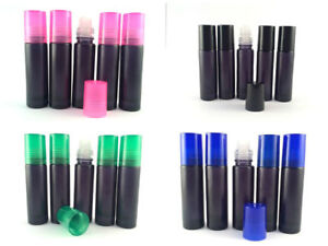 10 ml Black Frosted Aromatherapy glass Roll On Bottle Plastic cap oil & perfume