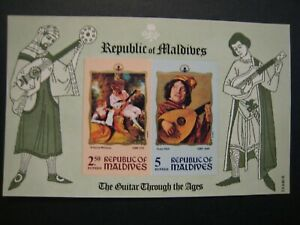 Republic of Maldives Quitar thru the ages S/S lot of 3 MNHOG