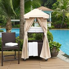 Spacious Hamper Outdoor Wicker Rolling Towel Valet with Sand Cover Steel Frame