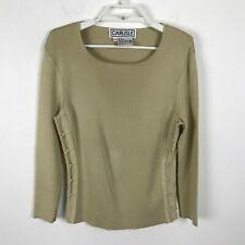 Carlisle Knit Blouse Size M Silk Spandex Beige Lace Up Sides Long Sleeve Womens