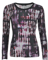 APANAGE EMBELLISHED TIE DYE PRINT LONG SLEEVE T-SHIRT, CURRENT STYLE