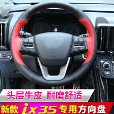 Red Black Leather DIY Car Steering Wheel Cover for Hyundai IX35