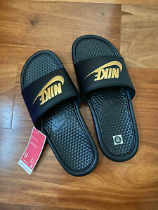 New Nike Men's Benassi JDI Slide Sandals Black / Metallic Gold 7 8 9 10 11 12