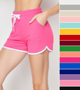 Soft & Cozy Women's Dolphin Shorts Pockets Drawstring Casual Gym Lounge Wear