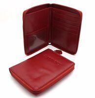 """Bifold Red Genuine Leather """"Passport"""" Zip Around Large Wallet"""
