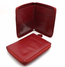 "Bifold Red Genuine Leather ""Passport"" Zip Around Large Wallet"