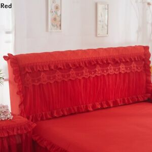 1X Bed Headboard Slipcover Lace Floral Ruffle Stretch Dustproof Cover Chic Decor